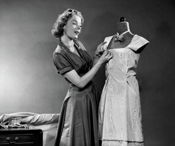 Dress Form Photograph - 1950s Woman Making Dress Pinning Fabric by Vintage Images