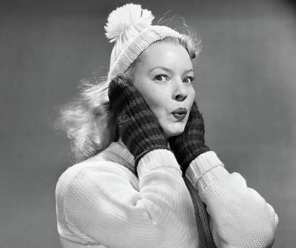 Knit Hat Photograph - 1950s Young Woman Pursing Lips Hands by Vintage Images
