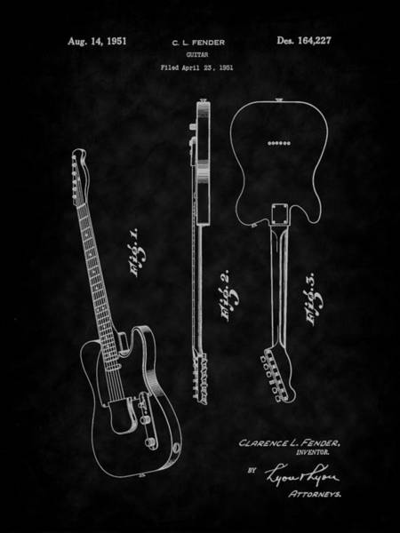 Digital Art - 1951 Fender Electric Guitar Patent Art-bk by Barry Jones