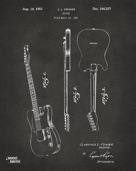 Wall Art - Digital Art - 1951 Fender Electric Guitar Patent Artwork - Gray by Nikki Marie Smith