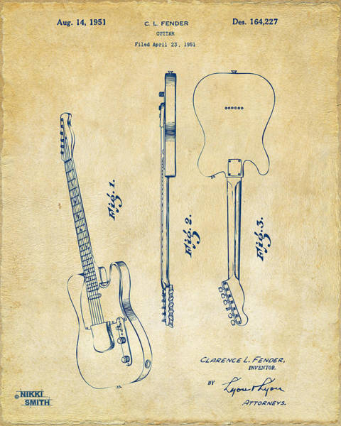 Electric Guitar Wall Art - Digital Art - 1951 Fender Electric Guitar Patent Artwork - Vintage by Nikki Marie Smith