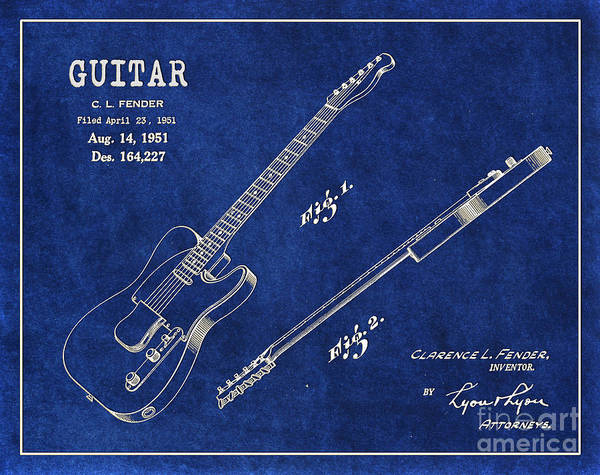 Tremolo Digital Art - 1951 Fender Telecaster Guitar Patent Art 1 by Nishanth Gopinathan