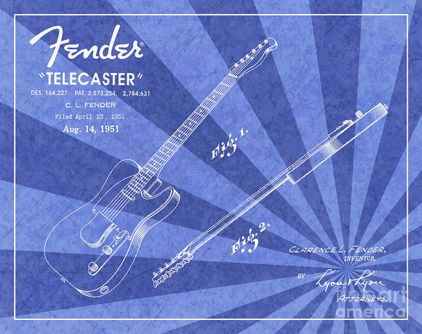 Wall Art - Digital Art - 1951 Fender Telecaster Guitar Patent Art Blue Ray Pattern 1 by Nishanth Gopinathan
