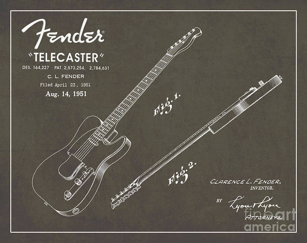 Vintage Poster Wall Art - Digital Art - 1951 Fender Telecaster Guitar Patent Art In White Chalk On Gray  by Nishanth Gopinathan