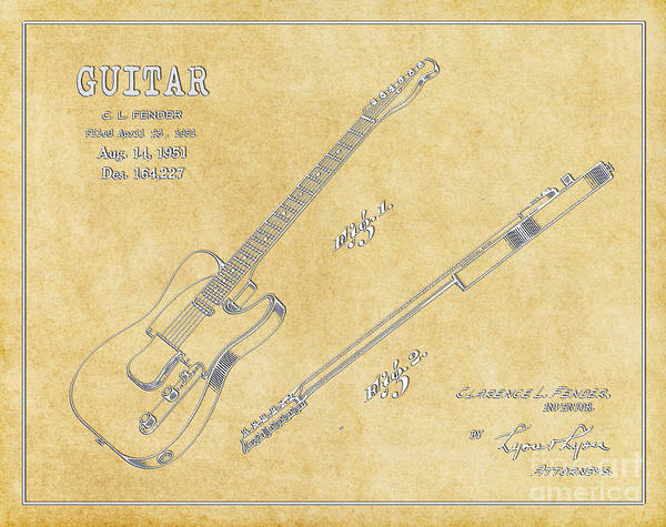 Tremolo Digital Art - 1951 Fender Telecaster Guitar Patent Art In White On Parchment 1 by Nishanth Gopinathan