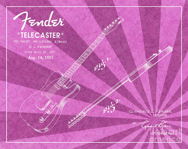 Tremolo Digital Art - 1951 Fender Telecaster Guitar Patent Art Pink Ray Pattern 1 by Nishanth Gopinathan