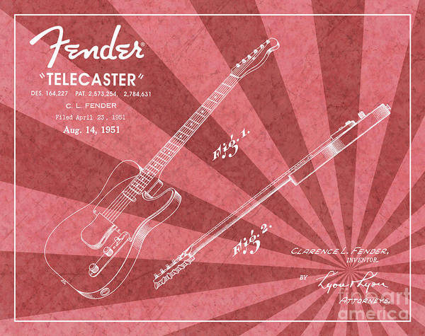 Tremolo Digital Art - 1951 Fender Telecaster Guitar Patent Art Red Ray Pattern 1 by Nishanth Gopinathan
