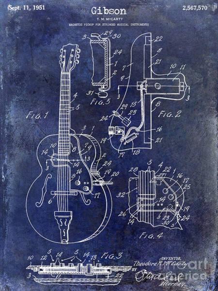 Guitar Neck Photograph - 1951 Gibson Guitar Patent Drawing Blue by Jon Neidert