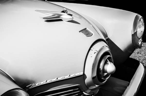 Photograph - 1951 Studebaker Star Light Hood Ornament -0344bw by Jill Reger