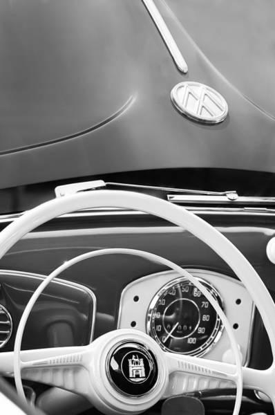 Photograph - 1951 Volkswagen Vw Beetle Cabriolet Steering Wheel Emblem - Hood Emblem by Jill Reger