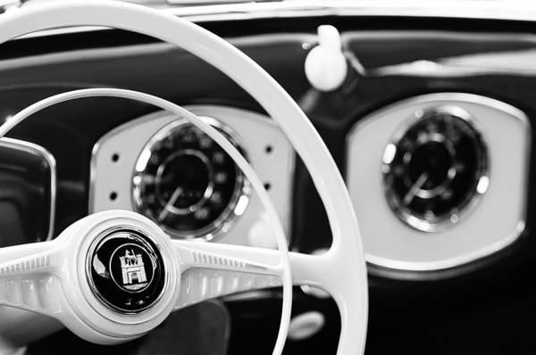 Photograph - 1951 Volkswagen Vw Beetle Cabriolet Steering Wheel Emblem by Jill Reger