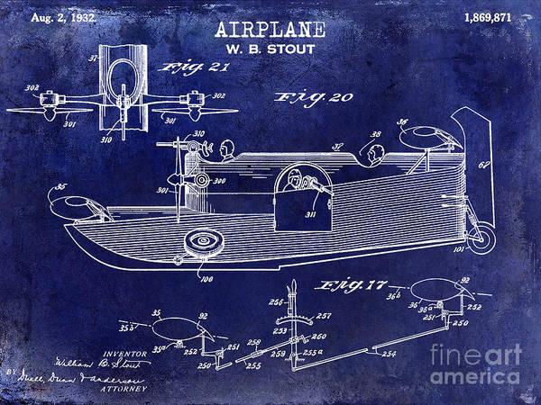 Vintage Airplane Photograph - 1932 Airplane Patent Drawing Blue by Jon Neidert