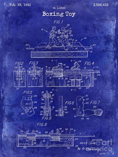 Boxing Photograph - 1952 Boxing Toy Patent Drawing Blue by Jon Neidert