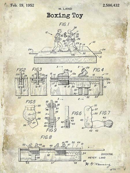 Headgear Wall Art - Photograph - 1952 Boxing Toy Patent Drawing by Jon Neidert