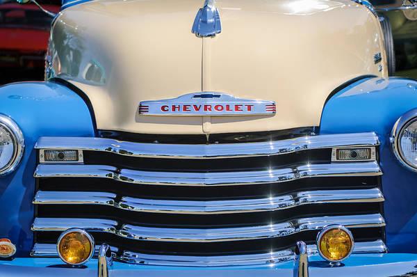 Chevy Truck Wall Art - Photograph - 1952 Chevrolet Pickup Truck Grille Emblem by Jill Reger