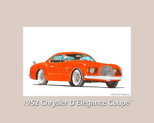 Classic Car Drawings Painting - 1952 Chrysler Delegance Concept by Jack Pumphrey