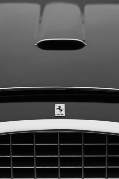 Photograph - 1952 Ferrari 342 America Pinin Farina Coupe Special Grille -hood Emblem -1831bw by Jill Reger