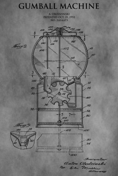Drawing - 1952 Gumball Machine Patent by Dan Sproul