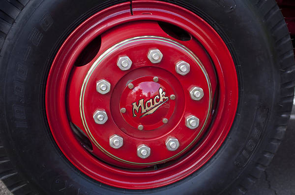 Mack Photograph - 1952 L Model Mack Pumper Fire Truck Wheel by Jill Reger