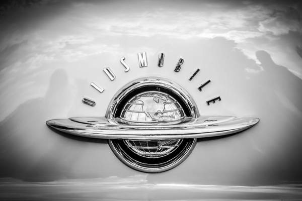 Photograph - 1952 Oldsmobile 98 Holiday Hardtop Emblem -0676bw by Jill Reger