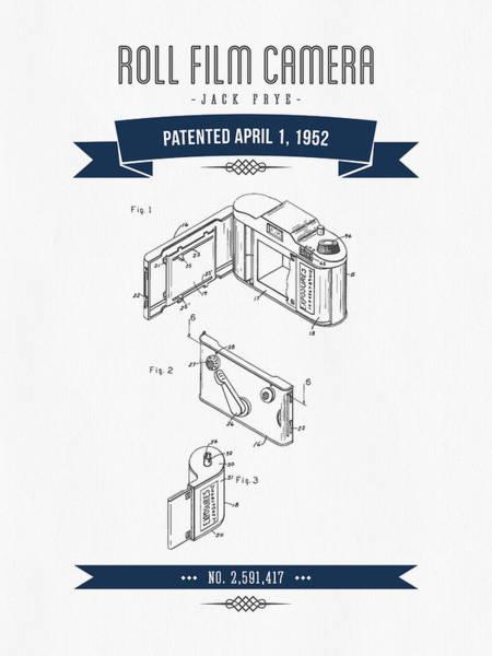 Wall Art - Digital Art - 1952 Roll Film Camera Patent Drawing - Retro Navy Blue by Aged Pixel