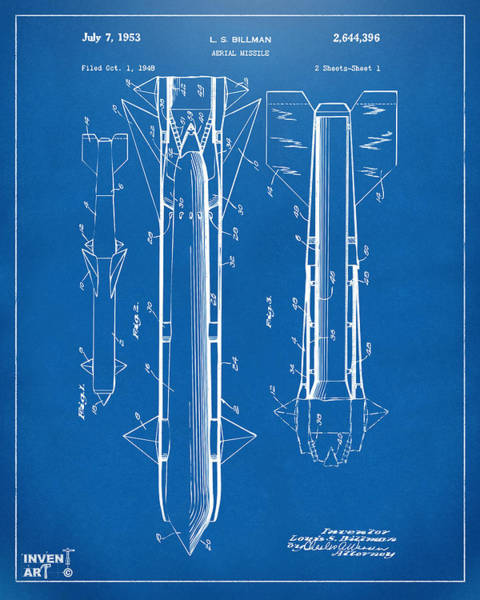 Digital Art - 1953 Aerial Missile Patent Blueprint by Nikki Marie Smith