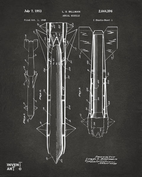 Digital Art - 1953 Aerial Missile Patent Gray by Nikki Marie Smith