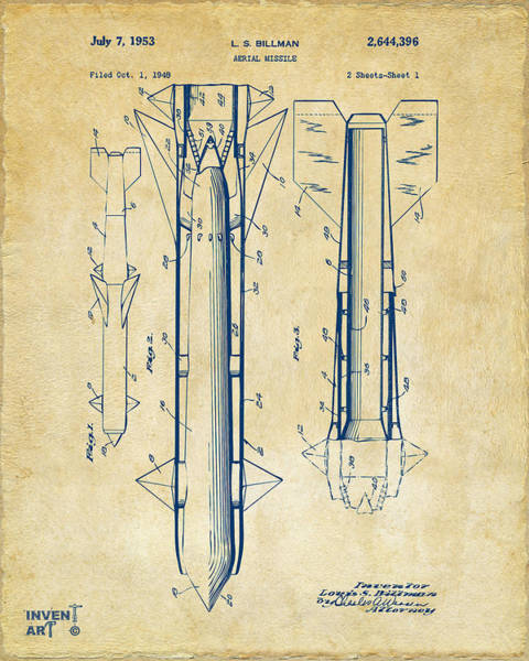 Digital Art - 1953 Aerial Missile Patent Vintage by Nikki Marie Smith
