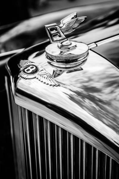 Photograph - 1953 Bentley R-type Hood Ornament - Emblem -0790bw by Jill Reger