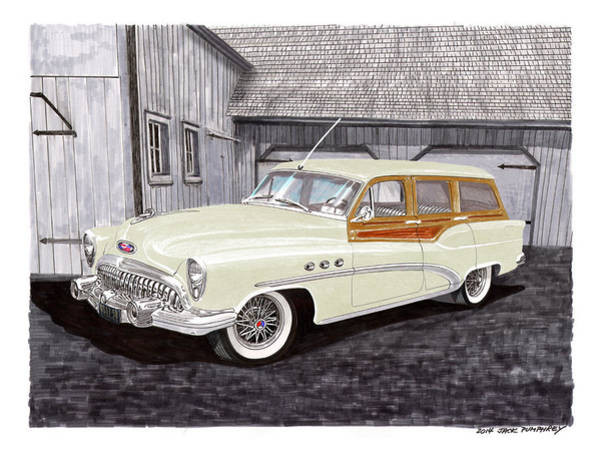 V8 Engine Wall Art - Painting - 1953 Buick Estate Wagon Woody by Jack Pumphrey