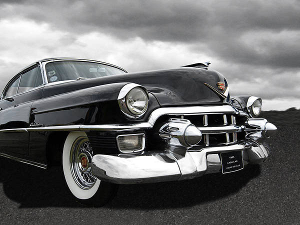 Photograph - 1953 Cadillac Coupe De Ville Black And White by Gill Billington