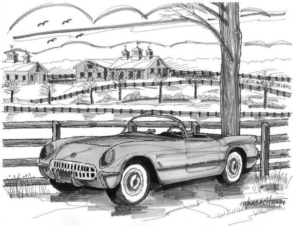 Drawing - 1953 Chevrolet Corvette by Richard Wambach