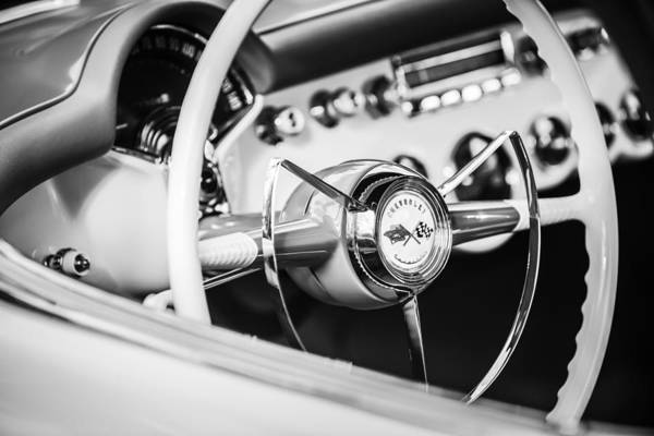 Wall Art - Photograph - 1953 Chevrolet Corvette Steering Wheel Emblem -1400bw by Jill Reger