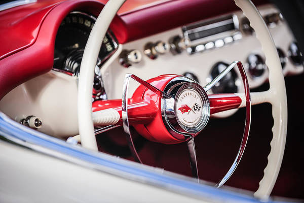Photograph - 1953 Chevrolet Corvette Steering Wheel Emblem -1400c by Jill Reger