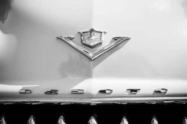 Photograph - 1953 Desoto Fire Dome Sportsman Hood Emblem -3562bw by Jill Reger