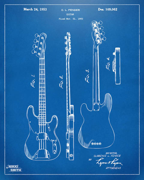 Drawing - 1953 Fender Bass Guitar Patent Artwork - Blueprint by Nikki Marie Smith