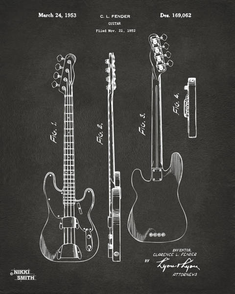 Den Digital Art - 1953 Fender Bass Guitar Patent Artwork - Gray by Nikki Marie Smith