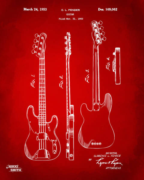 Drawing - 1953 Fender Bass Guitar Patent Artwork - Red by Nikki Marie Smith