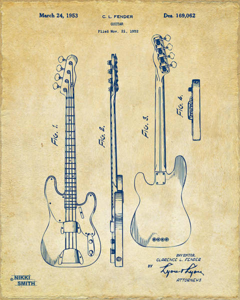 Electric Guitar Wall Art - Digital Art - 1953 Fender Bass Guitar Patent Artwork - Vintage by Nikki Marie Smith