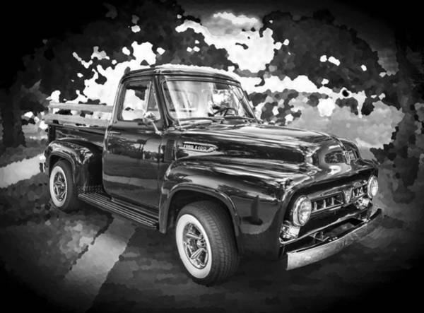 V8 Engine Photograph - 1953 Ford F100 Pickup Truck Bw by Rich Franco