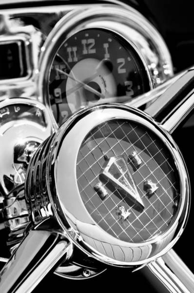Photograph - 1953 Hudson Convertible Steering Wheel -2704bw2 by Jill Reger