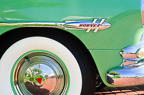 Photograph - 1953 Hudson Hornet Sedan Wheel Emblem by Jill Reger