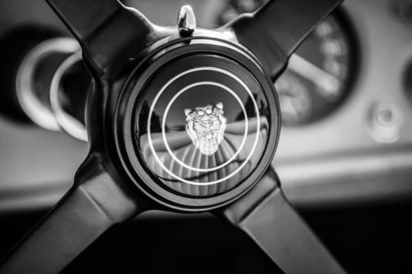 Photograph - 1953 Jaguar Xk 120 Se Steering Wheel Emblem -2470bw by Jill Reger