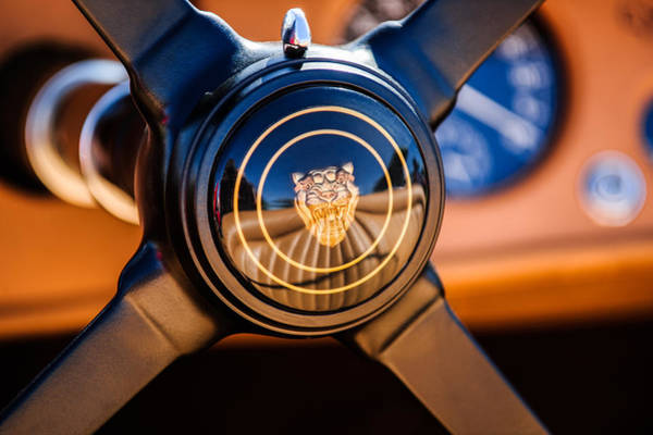 Photograph - 1953 Jaguar Xk 120 Se Steering Wheel Emblem -2470c by Jill Reger