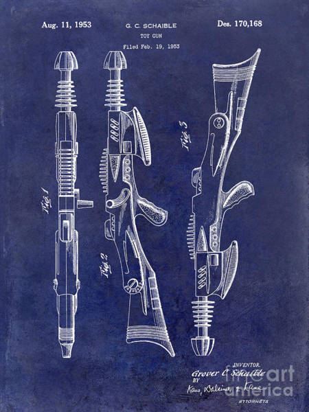 Toy Gun Photograph - 1953 Toy Gun Patent Drawing Blue by Jon Neidert