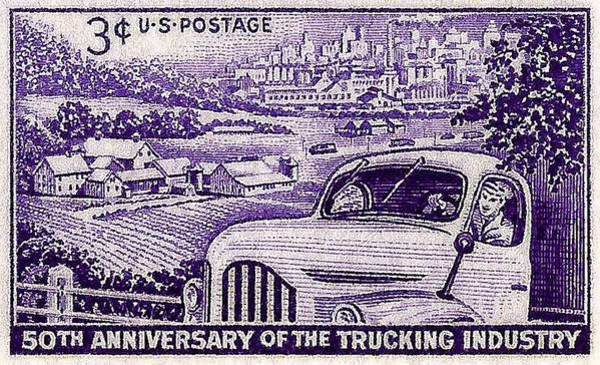 Stamp Collecting Photograph - 1953 Trucking Industry Postage Stamp by David Patterson