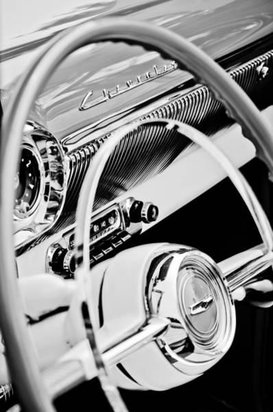 Chevrolet Bel Air Photograph - 1954 Chevrolet Belair Steering Wheel Emblem -1535bw by Jill Reger