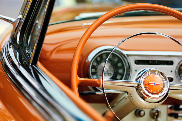 Photograph - 1954 Chevrolet Belair Steering Wheel Emblem by Jill Reger