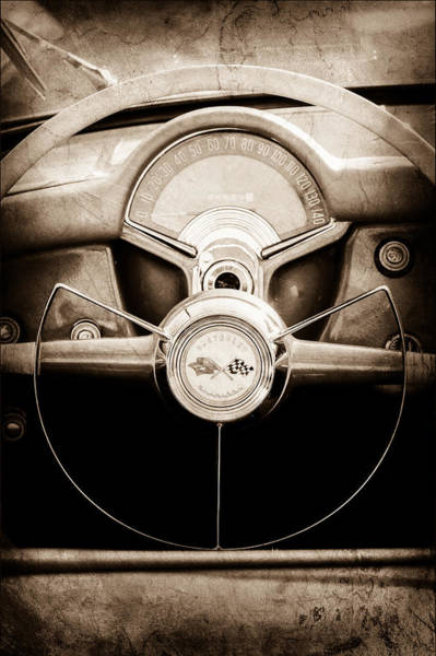 Steering Wheel Wall Art - Photograph - 1954 Chevrolet Corvette Steering Wheel Emblem by Jill Reger