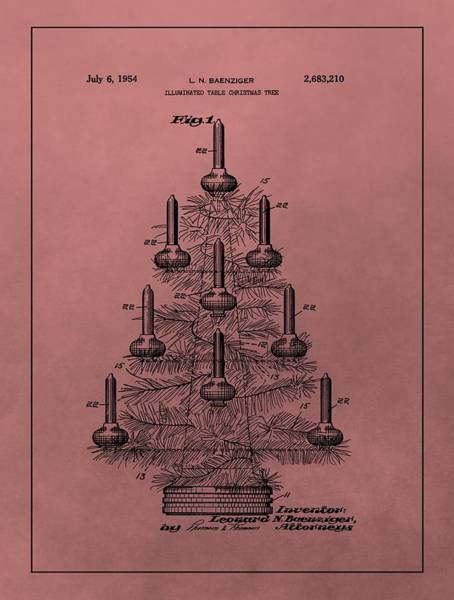 Wall Art - Mixed Media - 1954 Christmas Tree Patent by Dan Sproul